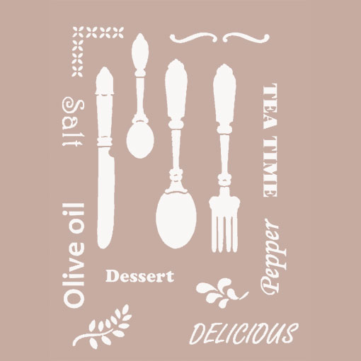 Vendita online stencil to do 21x29 7 cm cutlery for Stencil per cucina
