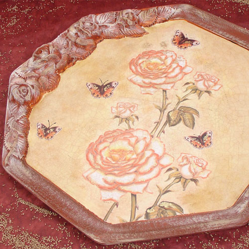 Vendita online to do vassoio rose ottagonale 40x40 cm for Comodini grezzi da decorare
